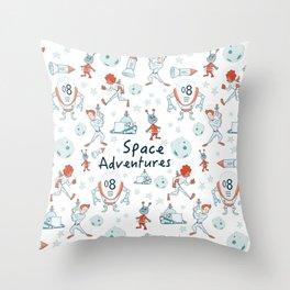 Space Adventures Throw Pillow
