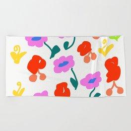 Dancing Flowers #Repeating #DigitalArt #Nature Beach Towel