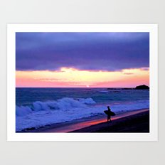 Sunset Skimboarder Art Print