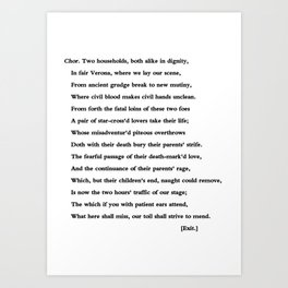 Romeo and Juliet William Shakespeare Prologue Art Print