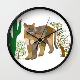 Mountain Lion in Desert Wall Clock