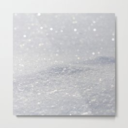 Silver Gray Glitter Sparkle Metal Print