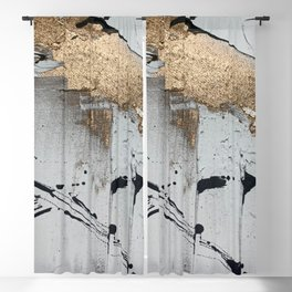 Still: an abstract mixed media piece in black, white, and gold by Alyssa Hamilton Art Blackout Curtain