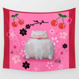 Sumo Kitty on Pink Wall Tapestry