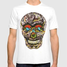 Colorful Skull Mens Fitted Tee White MEDIUM