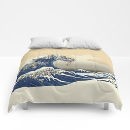 The Great Wave of Pugs Vanilla Sky Comforters