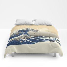 The Great Wave of Pugs Vanilla Sky Comforters