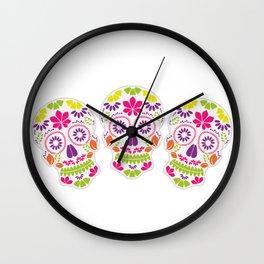 Calavera sugar skull Day of the dead floral skull Wall Clock