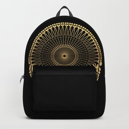DEEM bright warm gold mandala on black Backpack