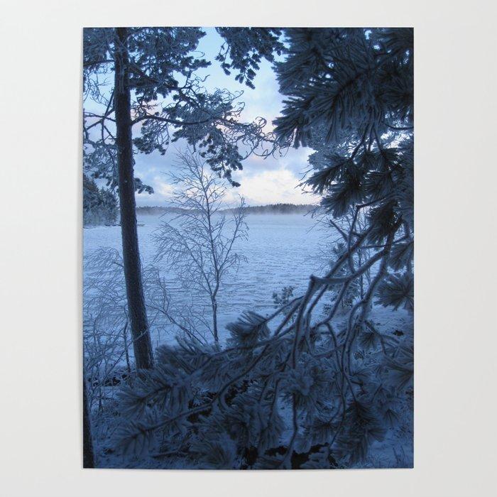 Frosty lake view Poster