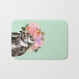 Owl with Flowers Crown in Green Bath Mat