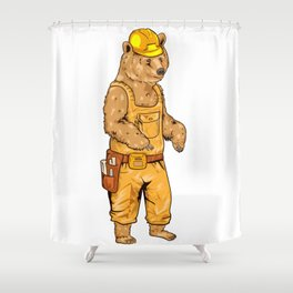 Construction Worker Grizzly Bear Shower Curtain