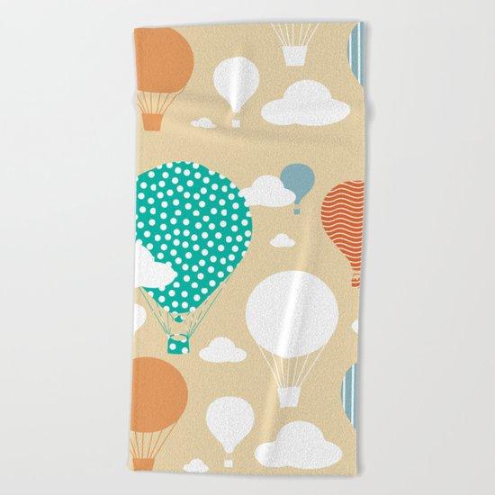 Hot air balloon neutral Beach Towel