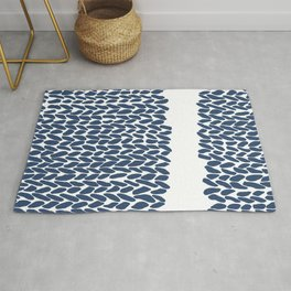 Missing Knit Navy on White Rug