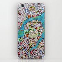 boston map iPhone & iPod Skins featuring imaginary map of boston  by Federico Cortese