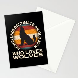 Old Man Who Loves Wolves Stationery Cards