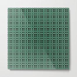Electric Green Grid on Black Background Metal Print