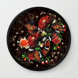 Snake Flowers Wall Clock