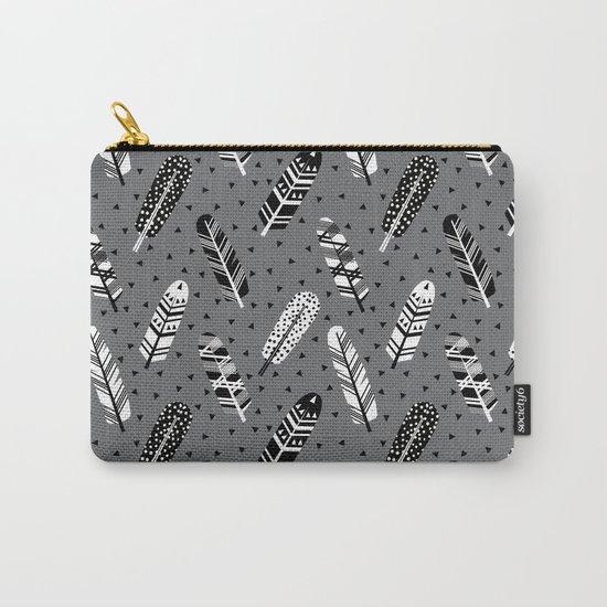 Feather geometric grey charcoal neutral modern pattern print dots geo scandinavian scandi pattern pr Carry-All Pouch