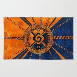 Hunab Ku Mayan symbol Orange and Blue Rug