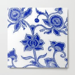 Vintage Floral Sapphire Blue and White Metal Print