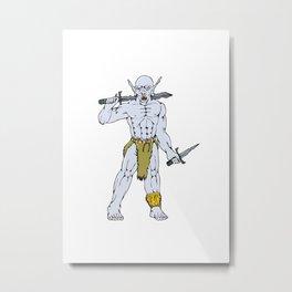 Orc Warrior Sword Dagger Cartoon Metal Print
