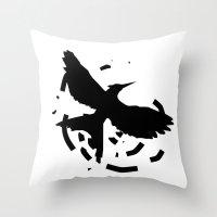 mockingjay Throw Pillows featuring MockingJay Revolution  by Lauren Lee Design's