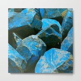 Azure Blue Boulders From Baja Peninsula, Mexico Metal Print
