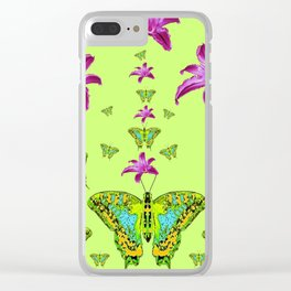 LIME COLOR PURPLE LILIES GREEN MOTHS Clear iPhone Case
