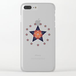 Vintage US Flag Star Clear iPhone Case