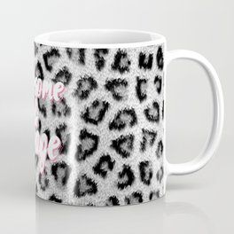 Trendy black white animal print pink brush typography Coffee Mug