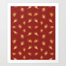 Primitive Art Hands Motif Pattern Art Print