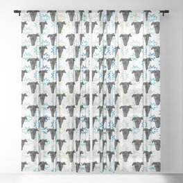 Black Puppy Faces & Abstract Blue Patterns Sheer Curtain