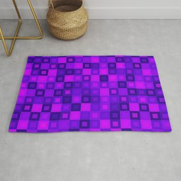 Strict mosaic of pink intersecting squares and violet blocks. Rug