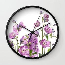 Purple delphinium flowers Wall Clock