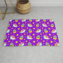 Cute colorful magical baby unicorns and sweet yummy cupcakes and bright golden stars purple fantasy pattern design. Nursery decor. Funny gifts for unicorn lovers. Rug
