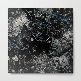 BW Cat Collage Metal Print