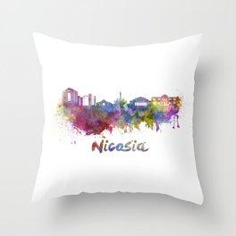 Nicosia skyline in watercolor Throw Pillow