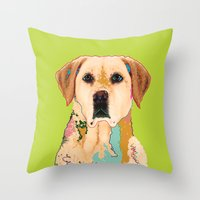 golden retriever Throw Pillows featuring Golden Retriever by eileen tomson