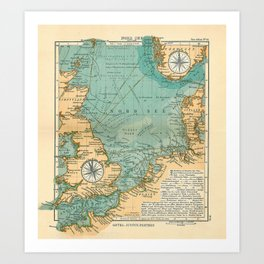 Vintage North Sea Viking & Norse Routes Map (1906) Art Print