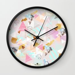 Abstract geometric textures and marble Wall Clock