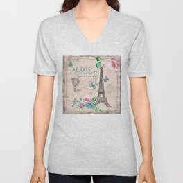 Paris - my love - France Nostalgy - pink French Vintage Unisex V-Neck