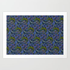 Lizzards pattern. Art Print