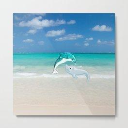Tropical turquoise sand beach cute nautical animals Metal Print