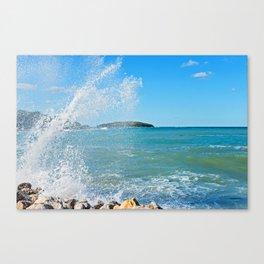 Big wave on the blue sea Canvas Print