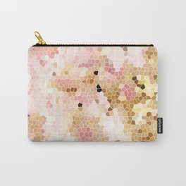 Flower Mosaic Millennial Pink and Golden Yellow Abstract Art | Honey Comb | Geometric Carry-All Pouch