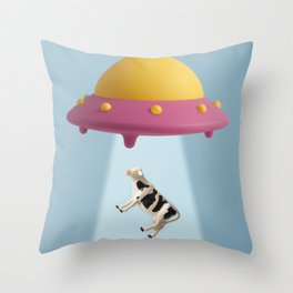 Abducted Cow Throw Pillow