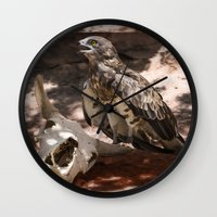 hawk Wall Clocks featuring Hawk by Veronika