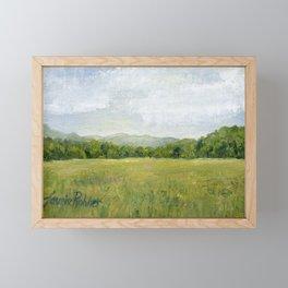 Vermont Landscape Mountain Fields Trees Pastures Oil Painting Framed Mini Art Print
