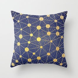 Cryptocurrency mining network Throw Pillow